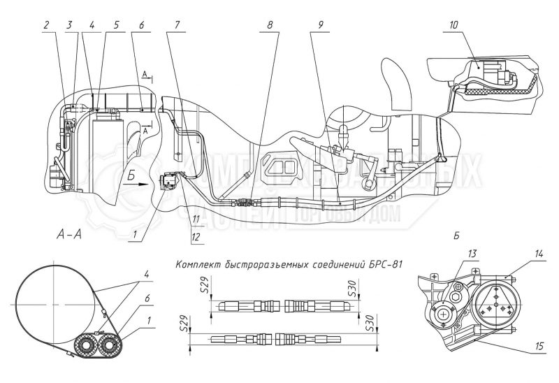 Запчасти Беларус 3522. Система кондиционирования. Установка компрессора и шлангов кондиционера