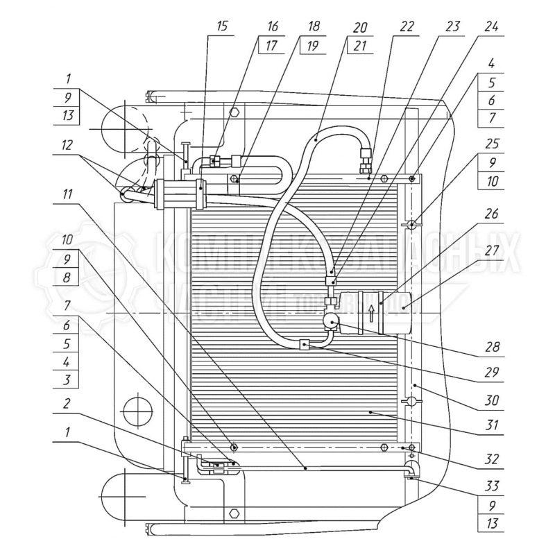 Запчасти Беларус 3522. Система кондиционирования. Установка откидного конденсатора и фильтра-осушителя