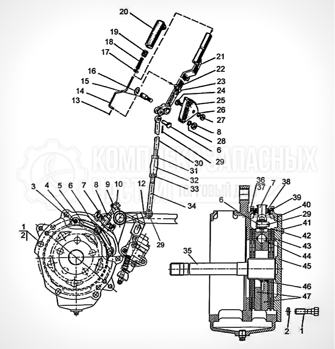 Запчасти МТЗ Беларус 1221. Тормоз стояночно-запасной. Управление стояночно-запасным тормозом (для «мокрых тормозов»)