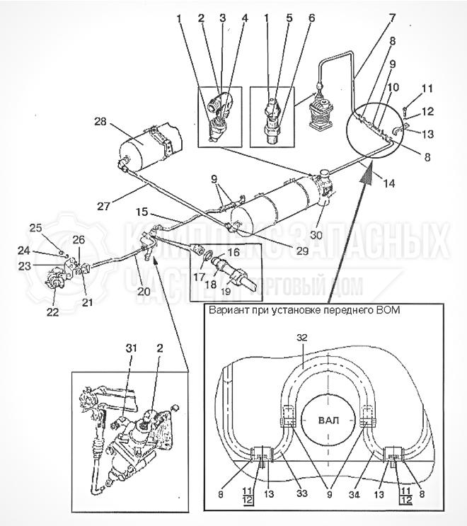 Запчасти МТЗ Беларус 1221. Трубопроводы и арматура однопроводного пневмопривода тормозов прицепа
