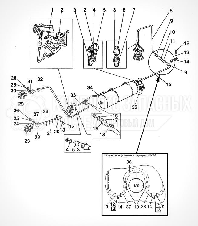 Запчасти МТЗ Беларус 1221. Трубопроводы и арматура двухпроводного пневмопривода тормозов прицепа