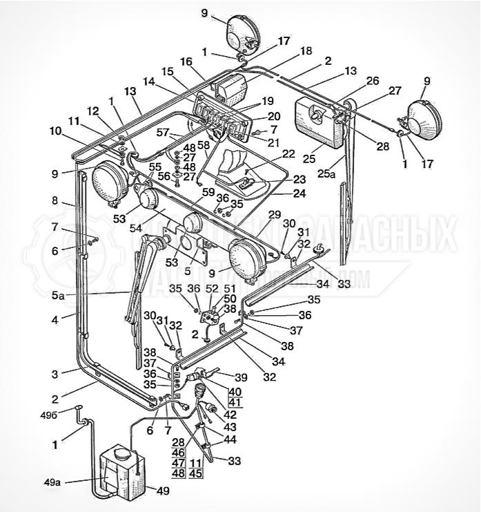 Запчасти МТЗ Беларус 1221. Электрооборудование кабины. Фары рабочие и фонари задние