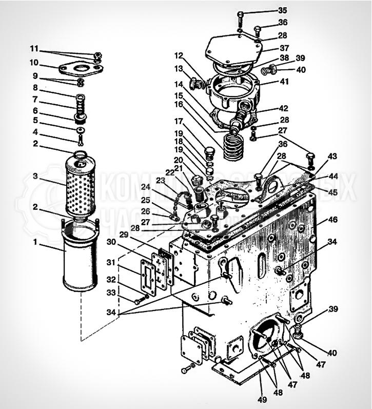 Запчасти МТЗ Беларус 1221. Корпус гидросистемы и фильтр