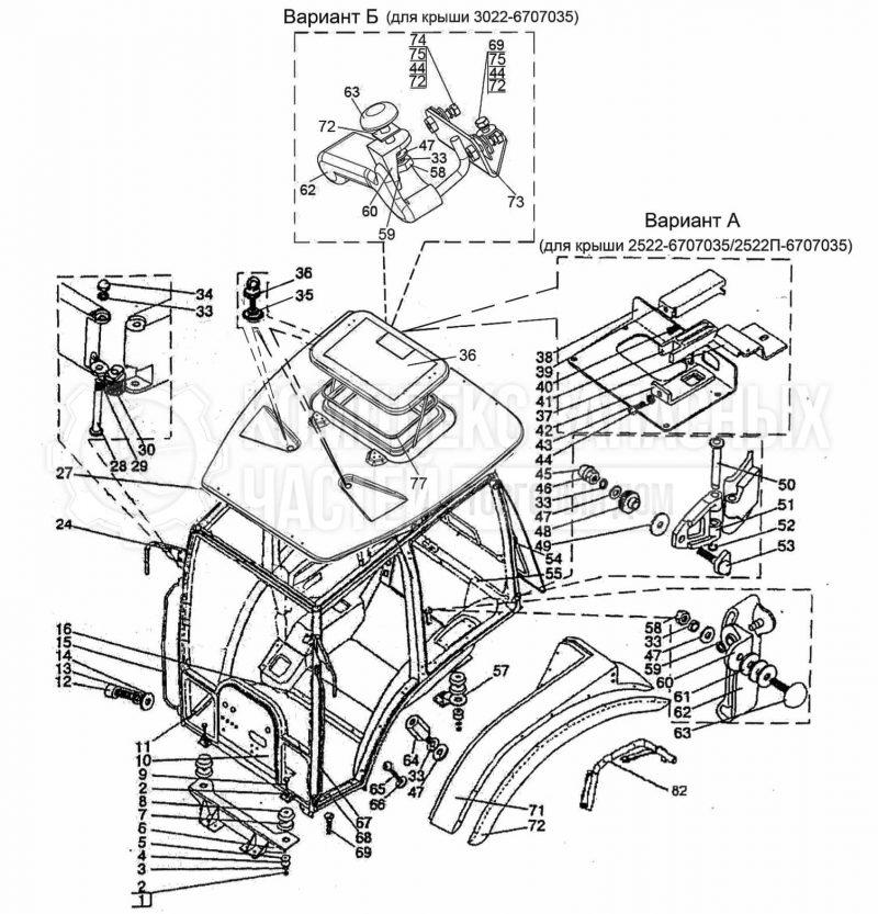 Запчасти МТЗ Беларус 2022. Кабина трактора